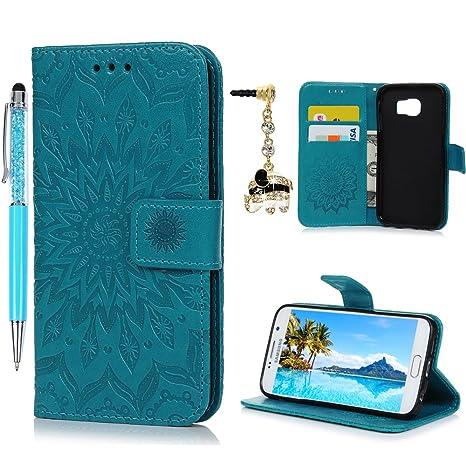 Cover per Samsung Galaxy S6 Pelle Stampata Folio Wallet Custodia - Morbido  Case Libro Premium PU f42a198920