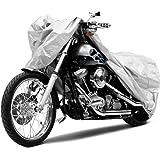 Funda para Moto, Cubierta de Moto Impermeable, Doble Poliéster Respirable, Resistente a UV, Lavable, Secado Rápido, Fadeproof, Ideal para Harley Davison, Yamaha, BMW, Honda y Otros Motores