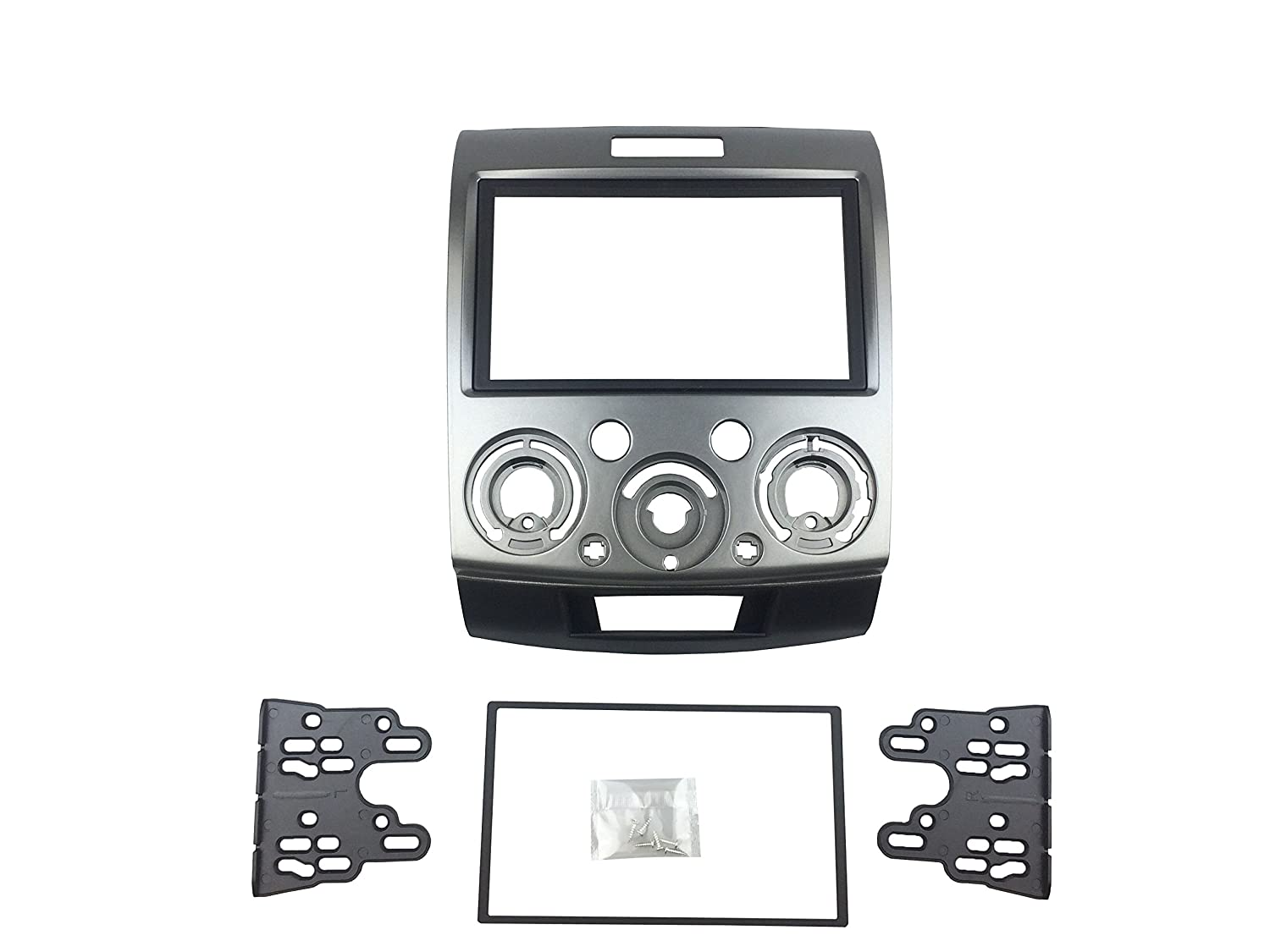 DKMUS Double Din Radio Stereo Dash Install Mount Trim Kit for Mazda Bt-50 2006 up Ford Ranger 2006-2010 Everest 2006 up Fascia Include in 173*98mm and 178*102mm Opening Frames DKM International