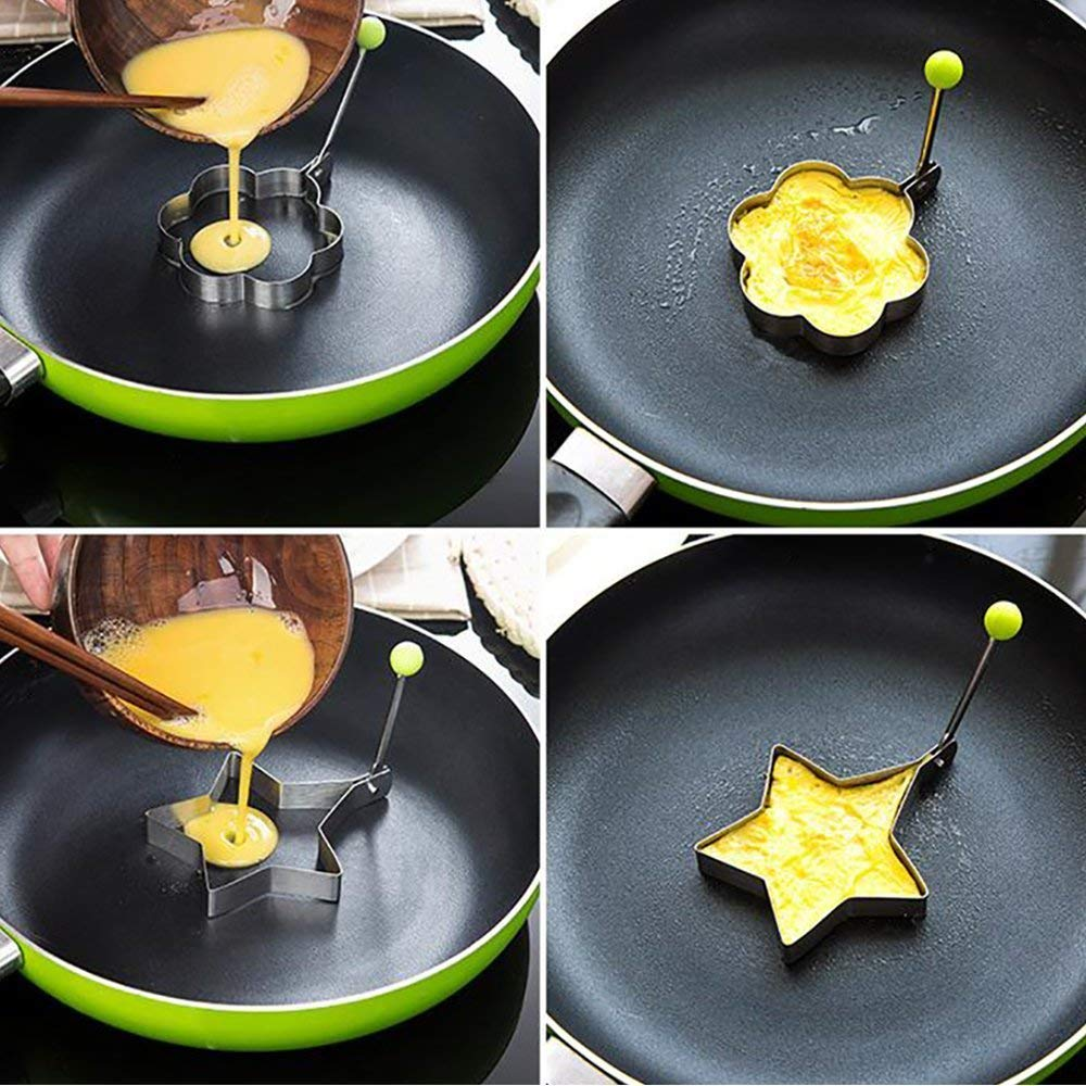 Magik 5 Pcs Fried Egg Non Stick Stainless Steel Pancake Ring Mold Cooking Kitchen Tools by Magik (Image #7)