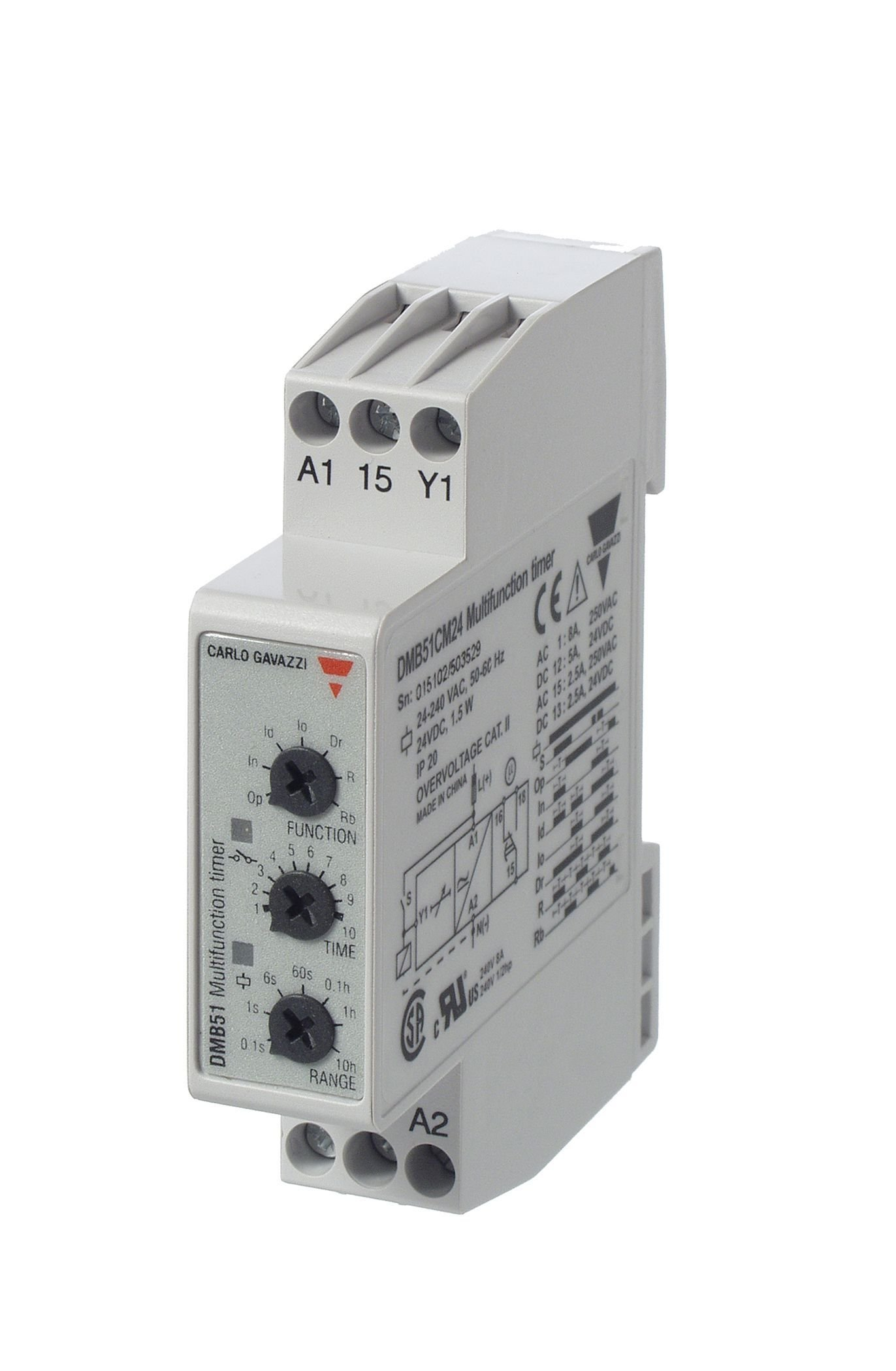 CARLO GAVAZZI DMB51CM24 Mini Multi Function Timer, Slim 17.5 mm Width, Seven Timing Functions, Adjustable Timer Setting, 0.1 Seconds to 100 Hours with Six Sub- Ranges, 24-240 VAC/DC, SPDT 5 amp Contact Output, Diagnostic LEDs, 2.6 oz. Size, 24 mm Height x