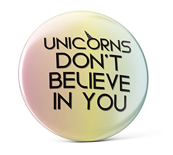 Amazon com: Funny unicorn pin, funny colorful badge, unicorn don't