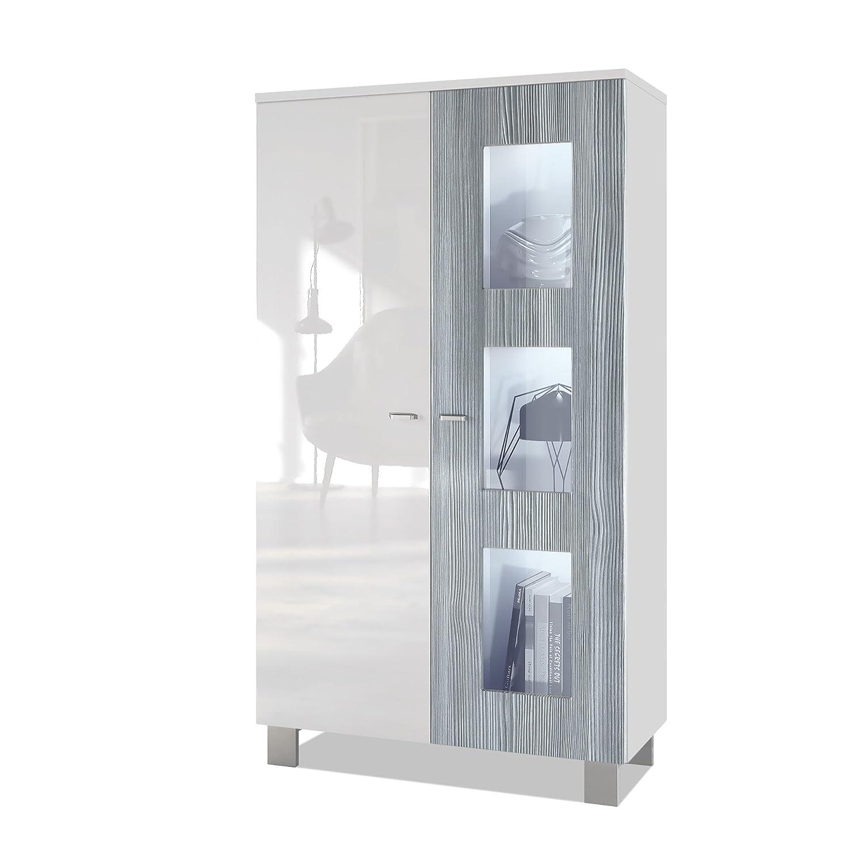 Tür in Avola-anthrazit mit LED Beleuchtung Vladon Standvitrine Hochschrank Denjo, Korpus in Weiß matt Fronten in Weiß Hochglanz und Avola-Anthrazit, inkl. LED Beleuchtung