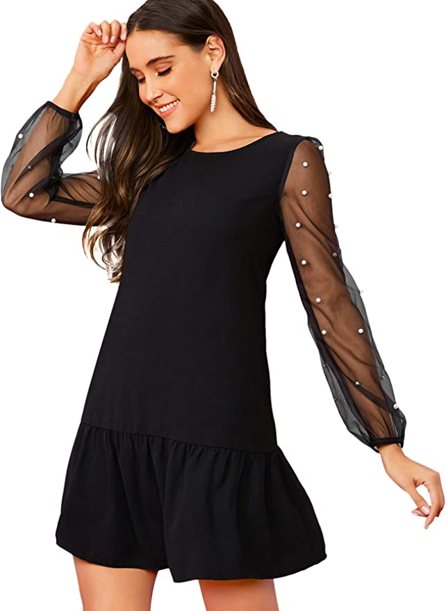 Amazon coupon code for Tunic Dress with Embroidered Floral Mesh Bishop Sleeve