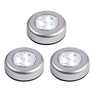 Lights4fun Lot De 3 Lampes Spots Ronds Led à Piles Autocollants
