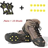 Carryown Ice Grips Traction Cleats Ice Cleats Snow Grips Snow Cleats for Men and Women+ 10 Extra Replacement Studs