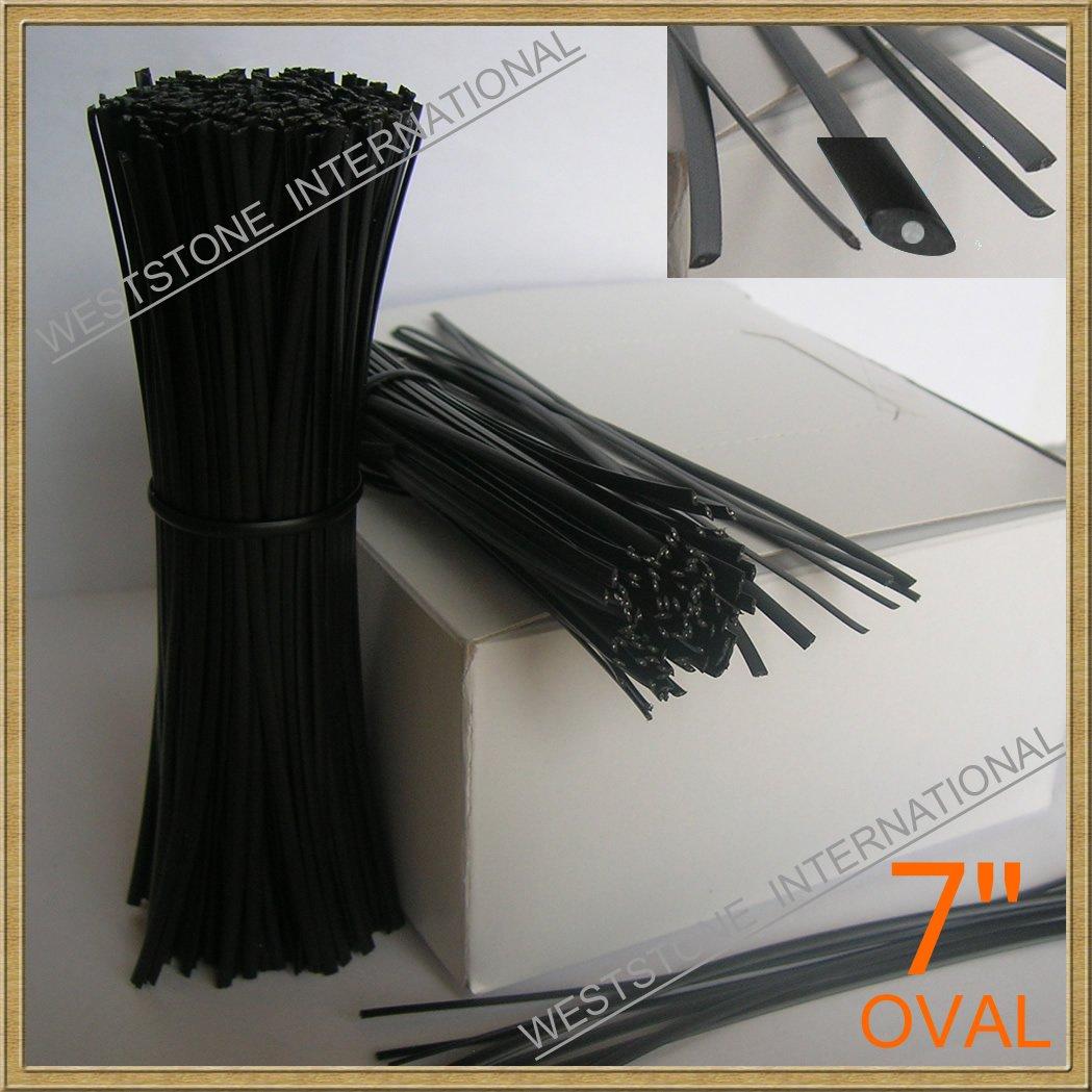 1000pcs 7'' (18cm) Plastic Black Twist Ties - Oval
