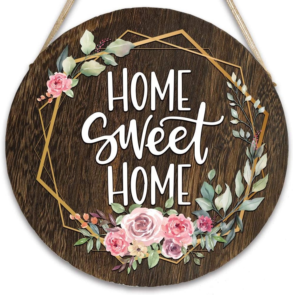 vizuzi Home Sweet Home Front Door Hangers Hanging Sign, Rustic Wood Round Hanging Wreaths Sign for Rustic Farmhouse Porch Outdoor Decor Housewarming Gift