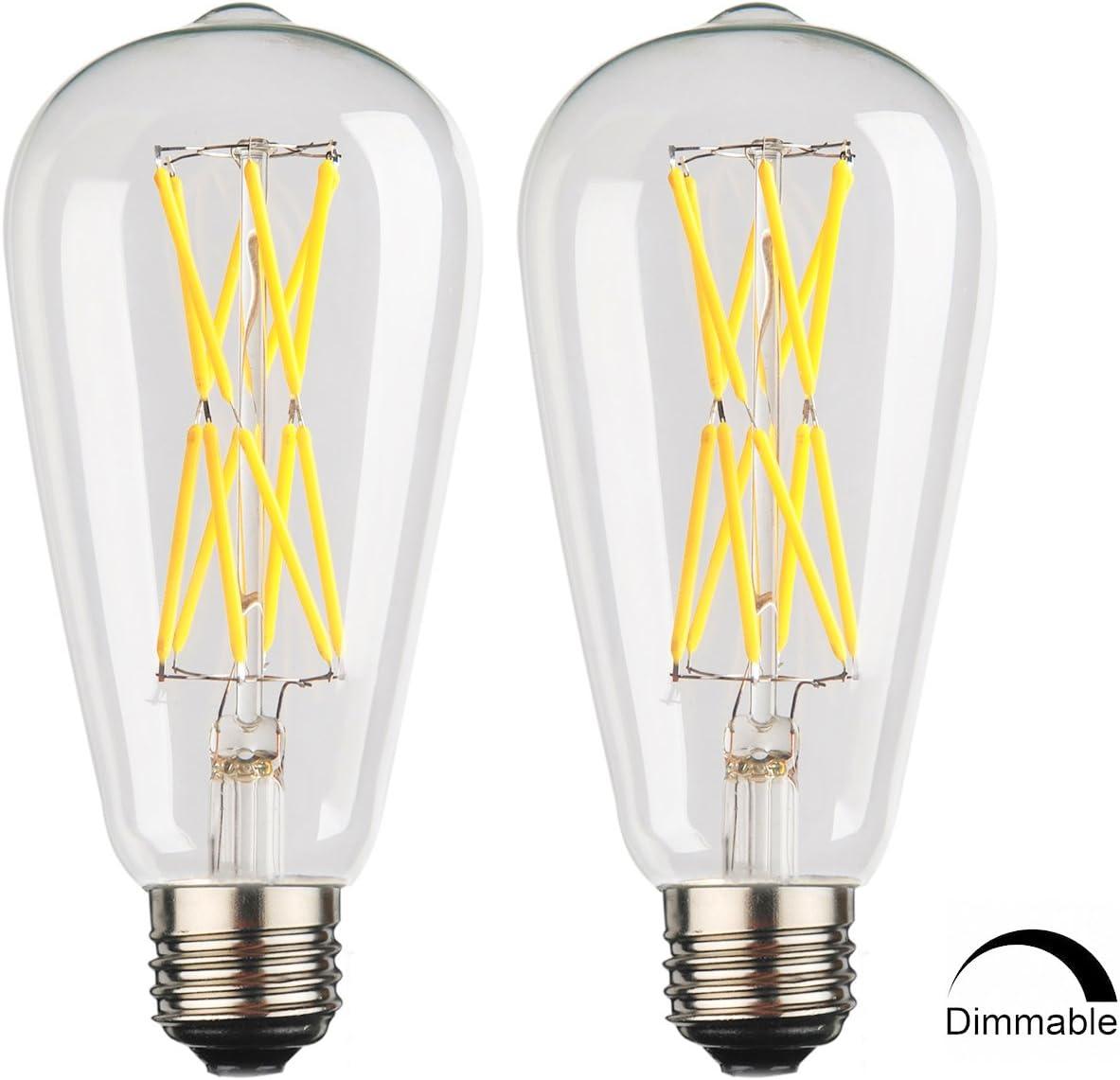 Amber Gold Glass LEOOLS 12W Vintage LED Edison Bulb Dimmable,100 Watt Incandescent Equivalent 2500K Warm White 2-Pack E26 Base Squarrel Cage Filament Vintage Light Bulb Decorative Antique Shape