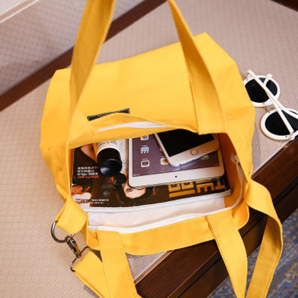 Milue Womens Casual Shoulder Canvas Bag Travel Shopping Handbags Tote Crossbody Bags Yellow