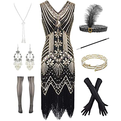 1920s Gatsby V Neck Flapper Fringed Dress for Cocktail W/ 20s Feather Accessories: Clothing