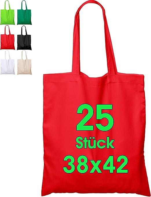 Bolsa de algodón, 38 x 42 cm, sin Estampar, Asas largas, Bolsa de Tela, Bolsa de algodón, Bolsa de Yute con Certificado Öko-Tex ®, 25 unidades (rojo): Amazon.es: Hogar
