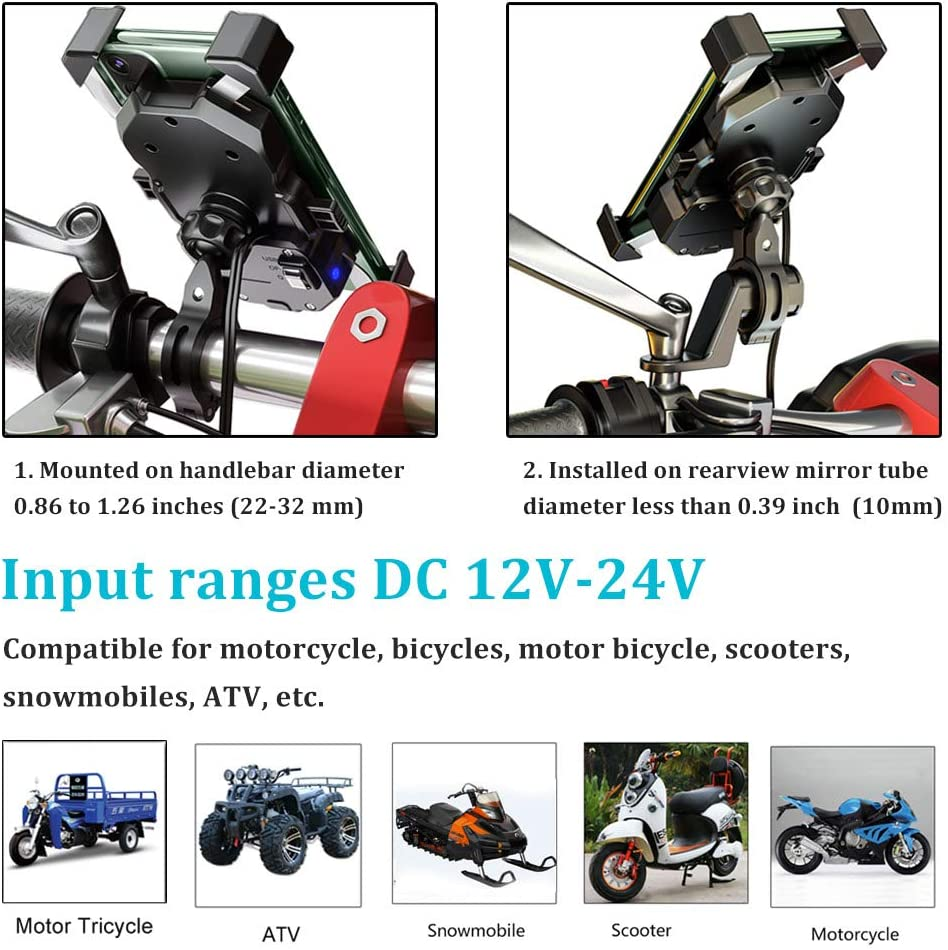Wireless 12V ATV Scooter Phone Charger Bar Mirror Mounting Bracket for S10 XR XS