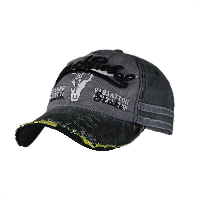 iSweven Cap for Men & Women (Unisex) Hip Hop 100% Cotton Fashion Adjustable Strip Snapback Sportswear Hat (5006A-Black Rebel)
