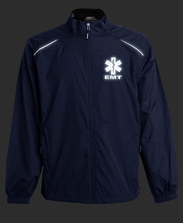 First Responder Reflective Logo Zip-up Jacket Smart People Clothing EMT Navy Windbreaker