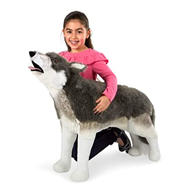 Melissa & Doug Giant Lifelike Plush Gray Wolf Standing Stuffed Animal (2' Tall), Multicolor: Toys & Games