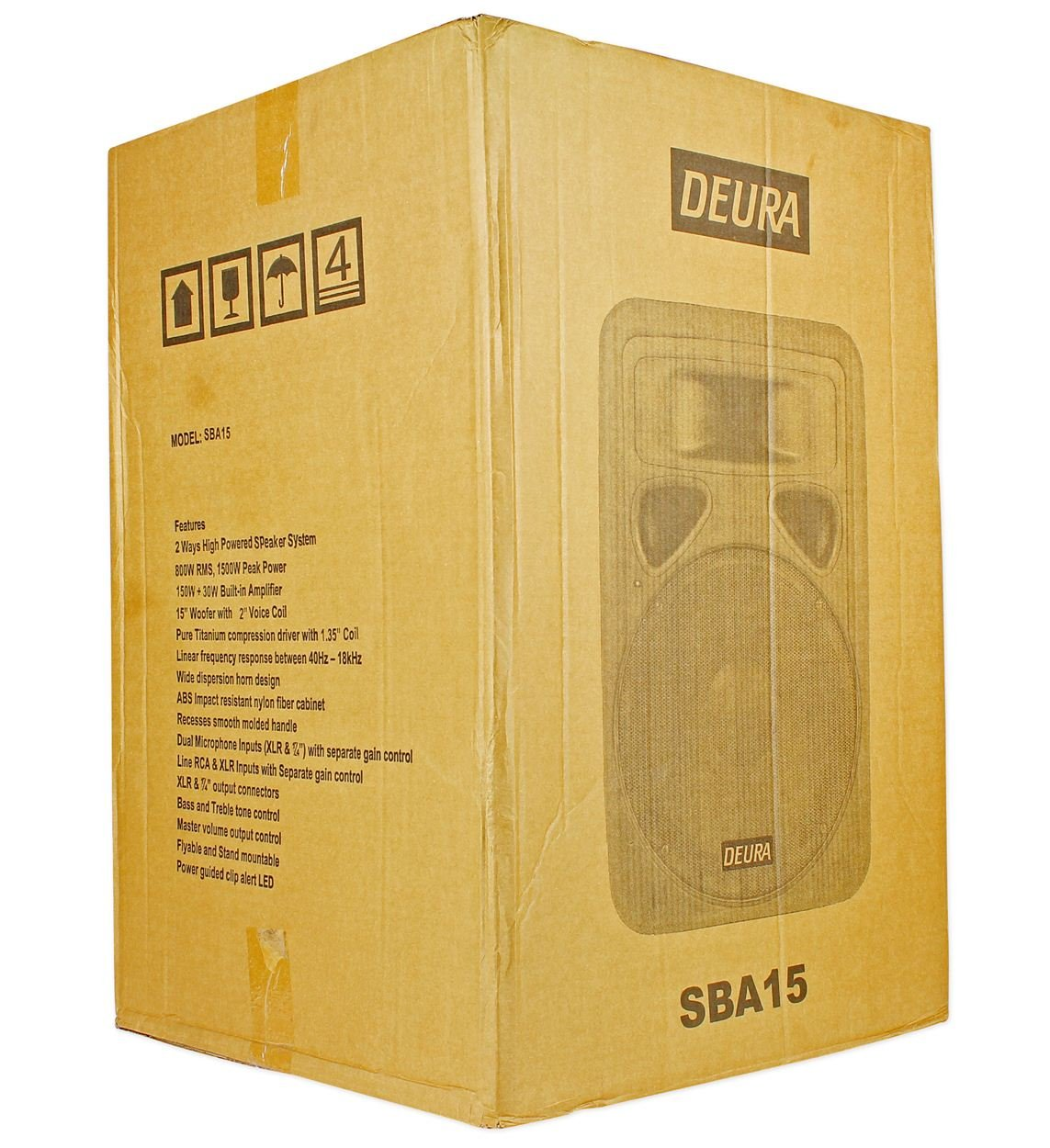 Deura Sba 15 1500 Watt Professional Powered Dj Pa Treble Tone Control Live Sound Speaker With Bass And Musical Instruments