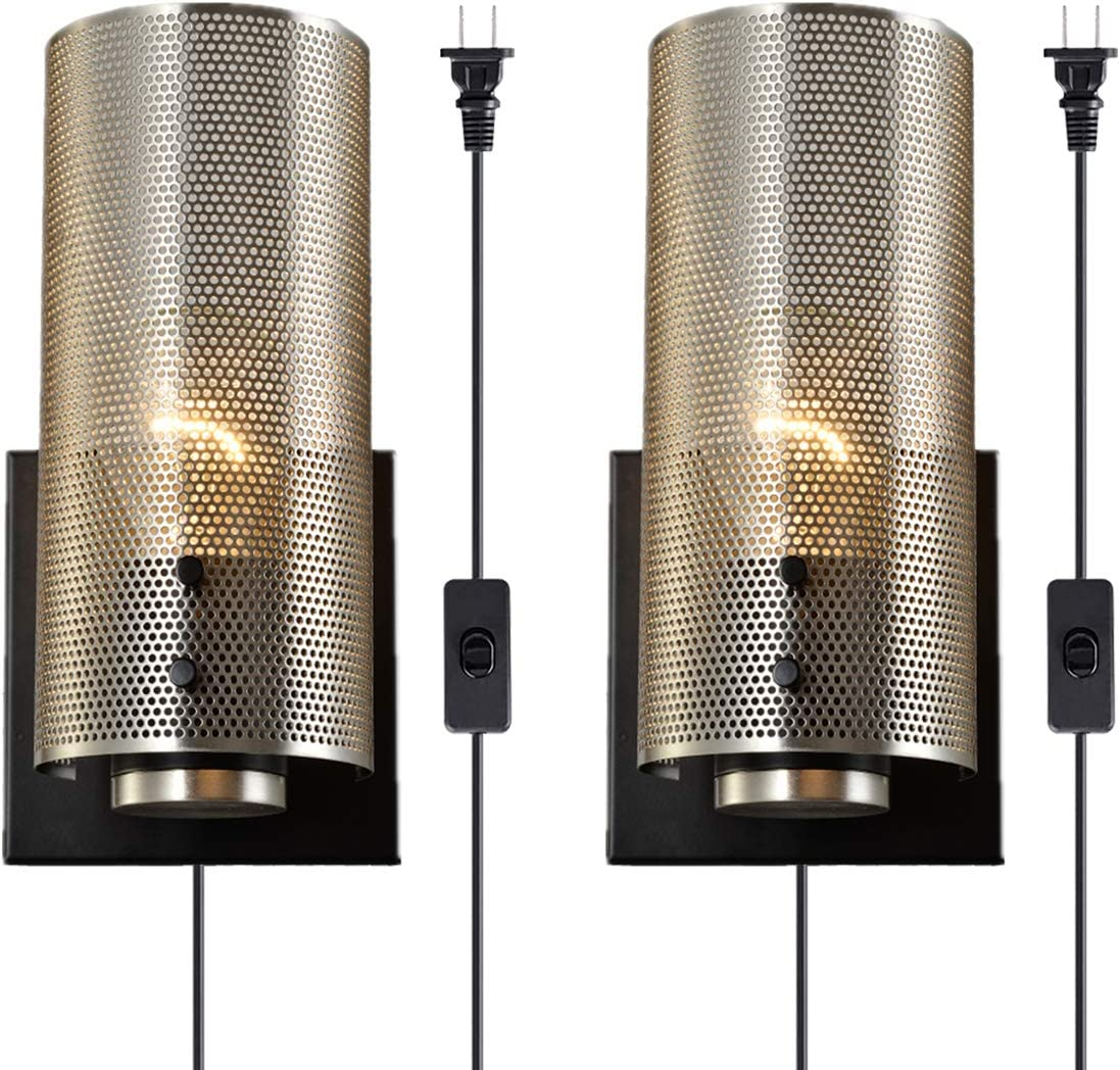 Hamilyeah Plug in Wall Sconces with On and Off Switch, Brushed Nickel Hardwired Sconces Wall Lighting Set of Two, Industrial Vintage Wall Sconce Lighting Indoor for Home Theater, Bedroom UL Listed