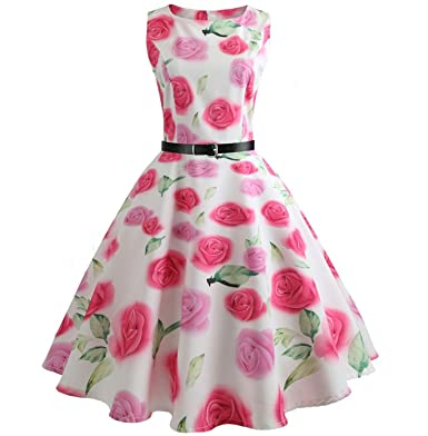 Summer Women Big Swing Print Floral Pinup Women Audrey Hepburn Dress Vestidos