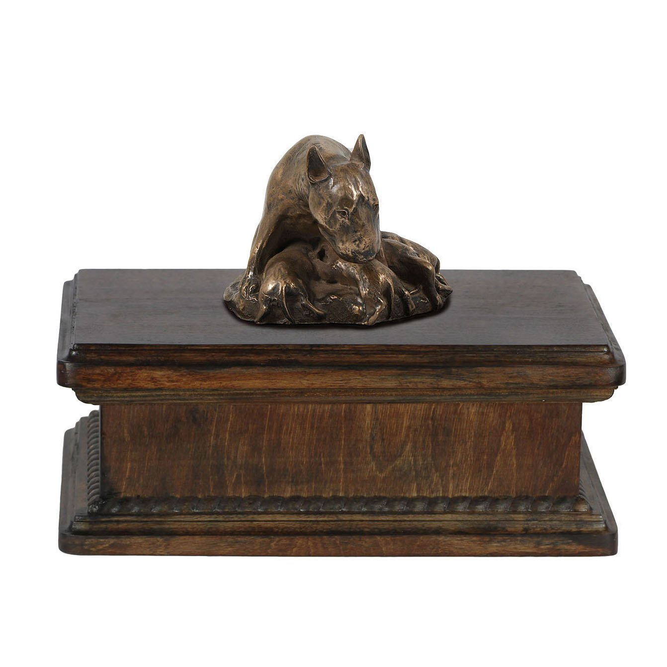 Bull Terrier (mama), memorial, urn for dog's ashes, with dog statue, exclusive, ArtDog