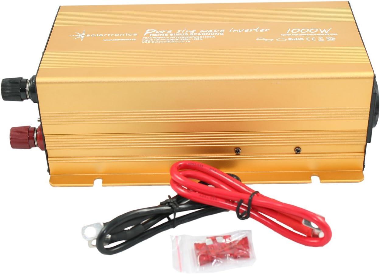 12 V Pure Sinus Wechselrichter Konverter mit Solarpanel 220 V 1000 W Spannungswandler f/ür Autoger/ät//Laptop//Kamera//Handy EBTOOLS Wechselrichter