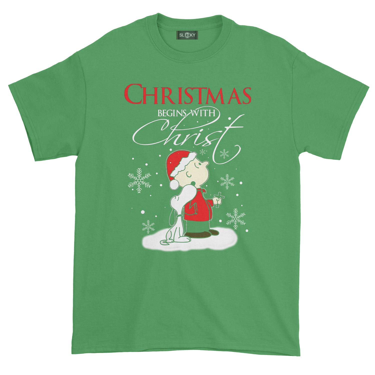 Christmas Begins with Christ Charlie Brown and Snoopy T Shirt