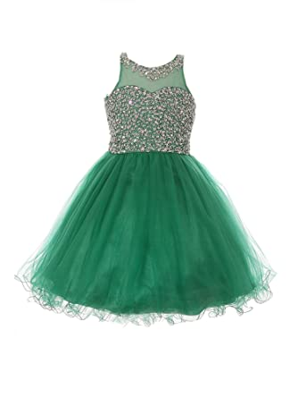 2fe98c69 Cinderella Couture Big Girls Emerald Green Glitter Bead Wired Hem Tulle  Christmas Dress 8