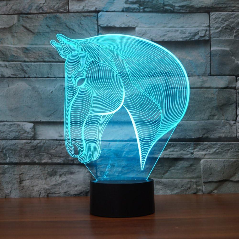 Cabeza de caballo 3d ilusión lámpara, Koreyoshi 7cambio de color de luz LED de acrílico decoración del hogar dormitorio arte lámpara