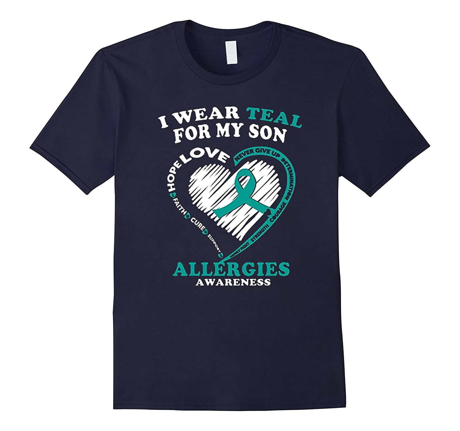Allergies Awareness T Shirt - I Wear Teal For My Son-BN