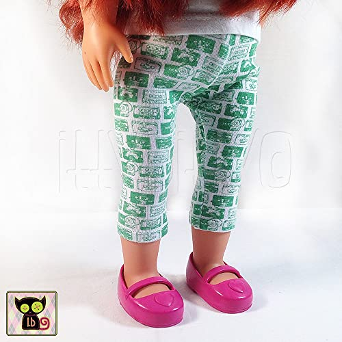 b48c655dccc63 Image Unavailable. Image not available for. Color: Green & White Cassette  Tape Print Leggings for 18 Inch Dolls
