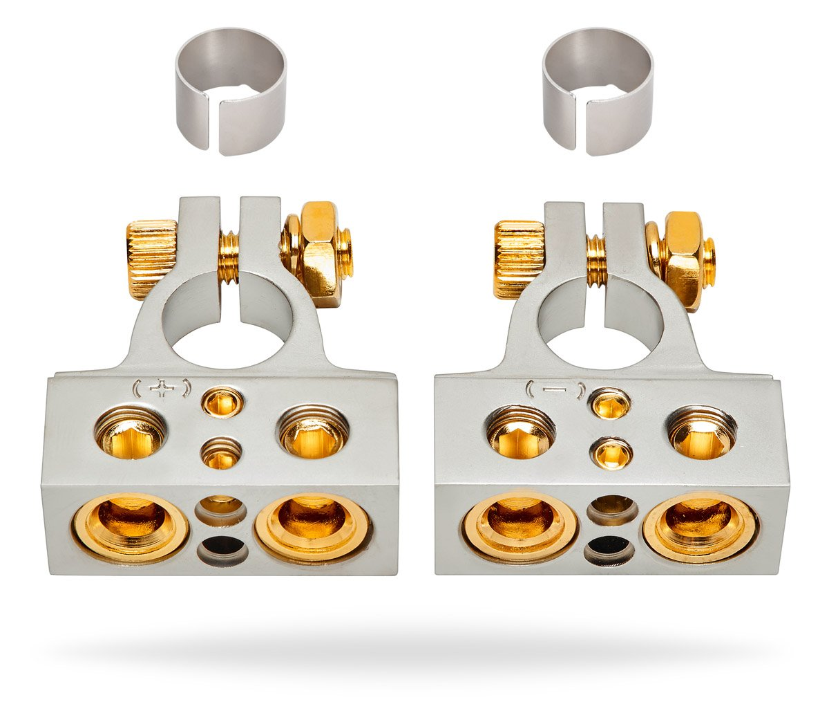 InstallGear 0/4/8 or 10 Gauge Battery Terminals with Shims - Positive and Negative (+/-)