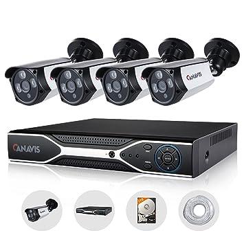 PoE IP Cámara Set, canavis Juego de Vigilancia Vídeo DVR Outdoor NVR Cámara Sistema PoE Kit ...