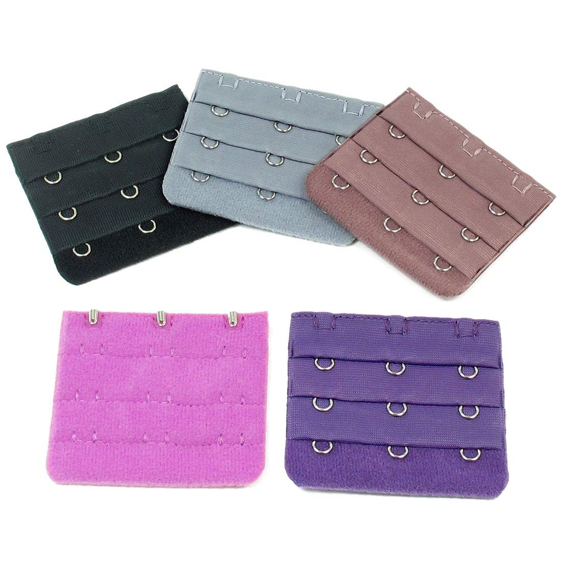 5pcs Lady Underware Hook w Eye Tape Bra Strap Extender Purple Gray Fuchsia