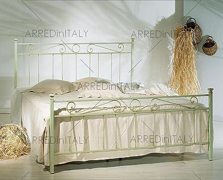 Letto E Materasso Matrimoniale.Letto Matrimoniale In Ferro Colore Verde Decape Con Pediera