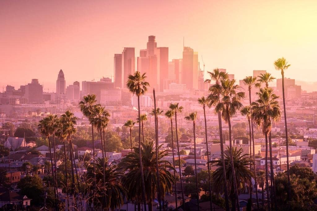 Los Angeles California City Skyline Sunset Landscape Photo Cool Wall Decor Art Print Poster 36x24