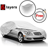 "KAKIT 6 Layers Car Cover Snow Cover - Durable Windproof Waterproof for Indoor Outdoor, All Weather Cover for Car Automobiles, Windproof Ribbon & Anti-theft Lock, Fits 199"" - 229"""