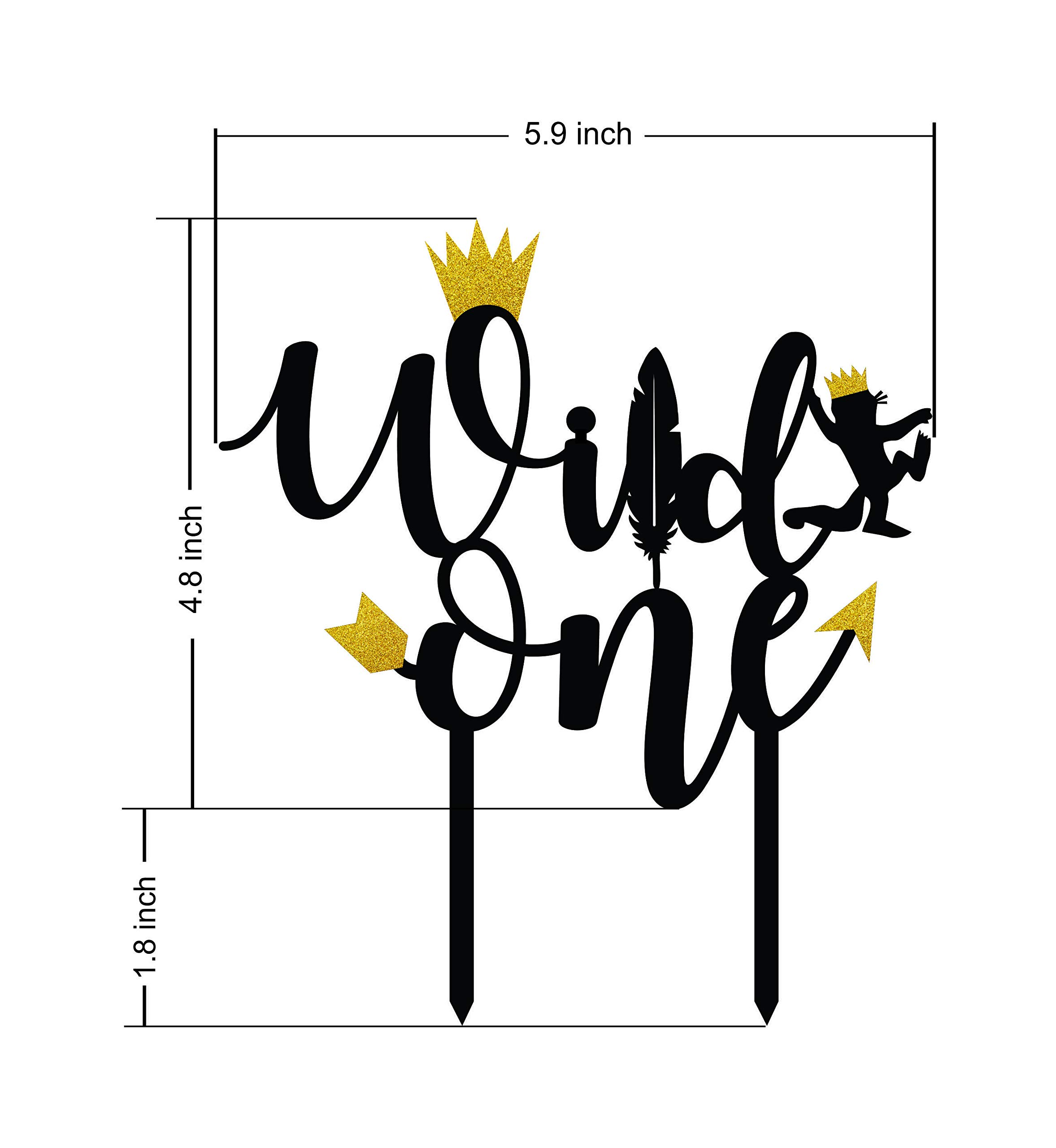 Wild one birthday decorations- Wild one cake topper - Black and Gold Acrylic Monogram Birthday cake toppers Gold glitter by OrangeDolly (Image #3)