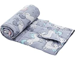 """Tempcore Weighted Blanket for Kids 5lbs, Toddler Weighted Blanket 36""""x48"""" 100% Breathable & Soft Cotton Cover (Grey,Unicorn),"""