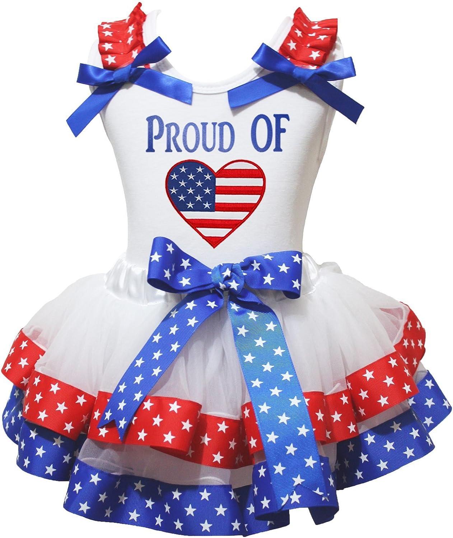 Petitebella USA Heart White Shirt Red White Blue Petal Skirt Set Nb-8y