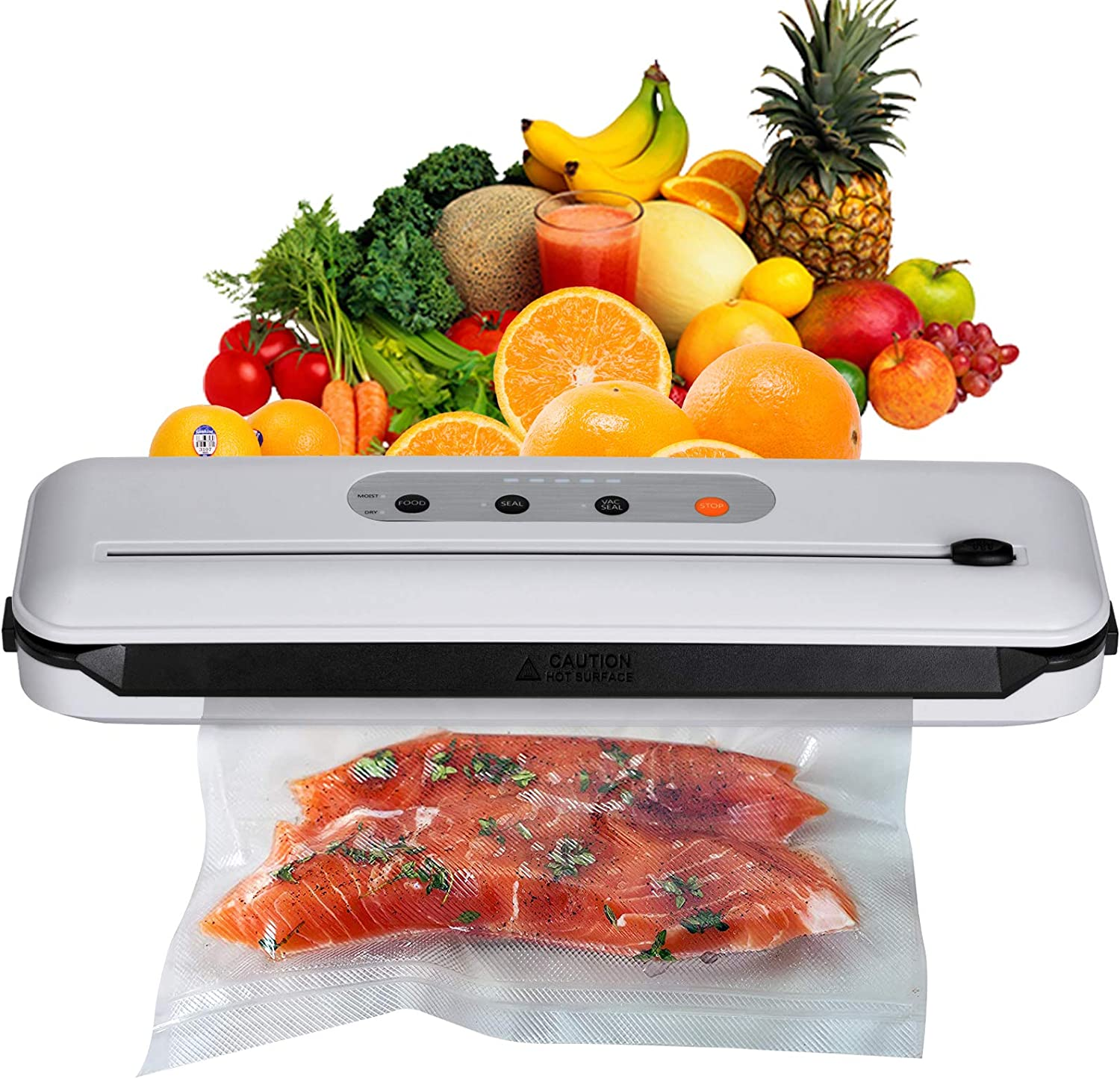 Vacuum Sealer Machine, Automatic Food Saver Machine, Compact Food Sealer For Food Preservation, Dry & Moist Food Modes, Patented Cutter, Led Indicator Light with 20 vacuum Bags