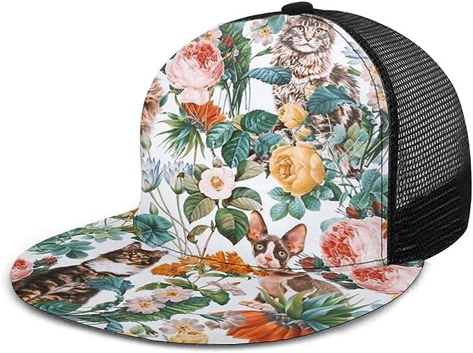 Gorra de béisbol con diseño de Gato y Flores de Naturaleza Natural ...