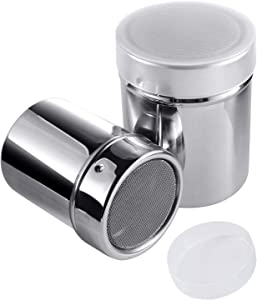Luxtrip 2 pack Sugar shaker Stainless steel flavoring bottle With a lid mesh Sugar powder bottle Cocoa powder cinnamon chocolate coffee Dusting device Dining utensils
