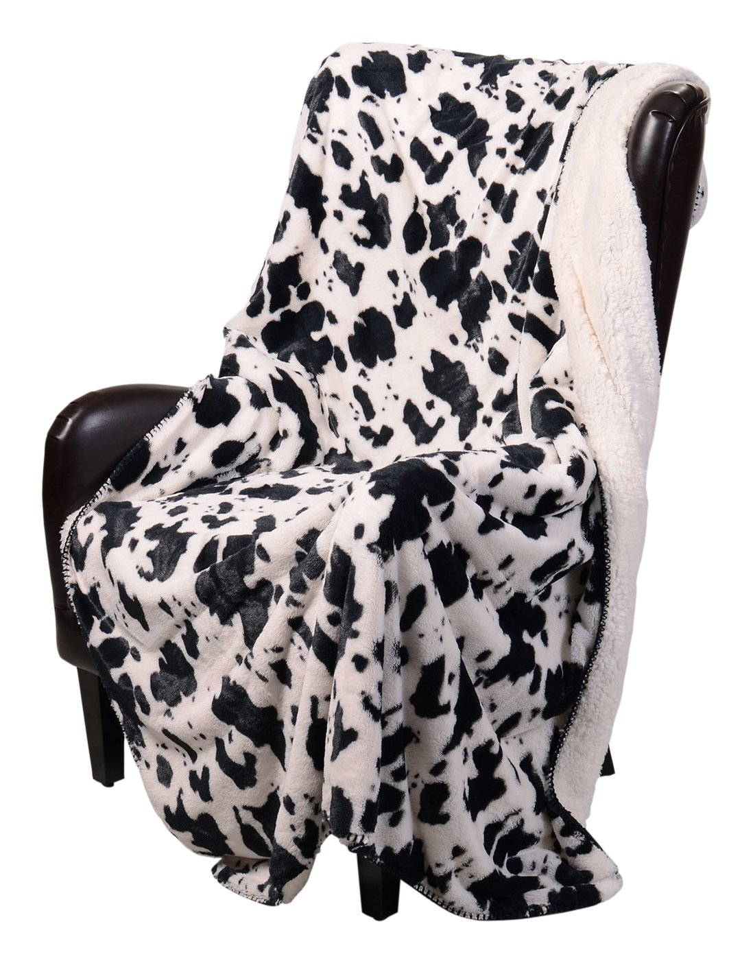 Regal Comfort Sherpa Luxury Throw Western Style Cow Print by Regal Comfort