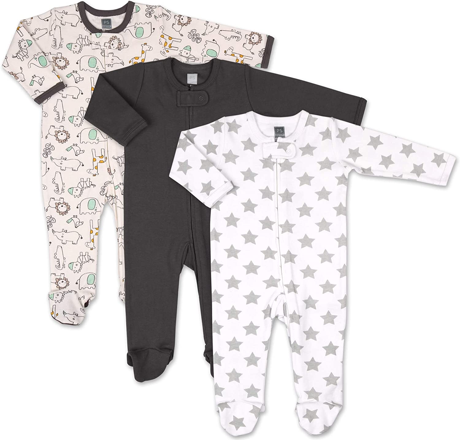 The Peanutshell Baby Sleeper Set for Baby Boys or Girls | 3 Pack in Safari, Stars & Black | Newborn to 9M Footed Pajamas