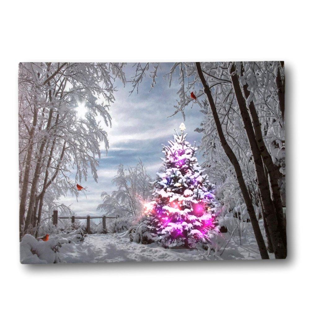 Christmas Tree Light Pictures: Wall Art Canvas Christmas Tree LED Light Up Bird Cardinal