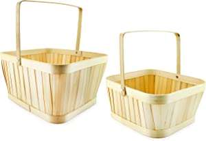 Auldhome Bamboo Basket Set (Nested Set of 2), Wood Baskets with Handles for Easter, Fall Decor, Picnics, Gifts, Gardening, Parties, Weddings, Home Decor and More
