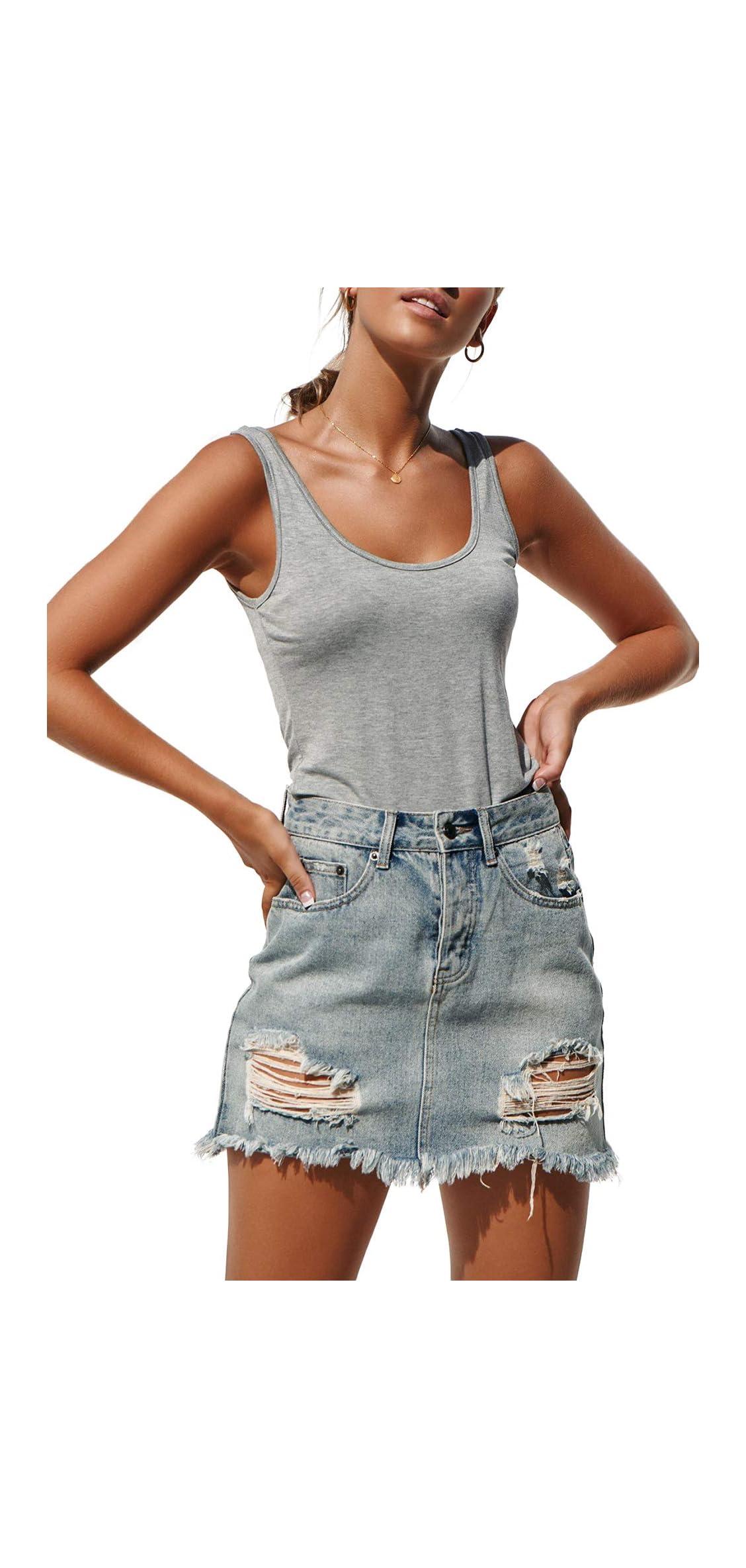 Womens Tank Tops Casual Summer Scoop Neck Sleeveless