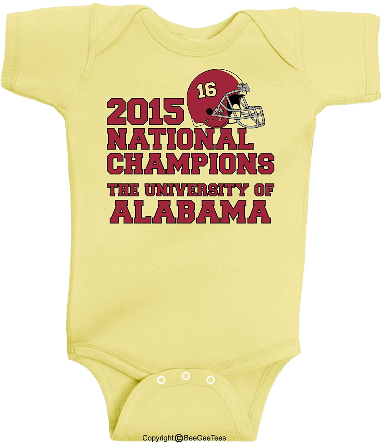 The University of Alabama 2015 National Champions Onesie by BeeGeeTees 24 Months, Red