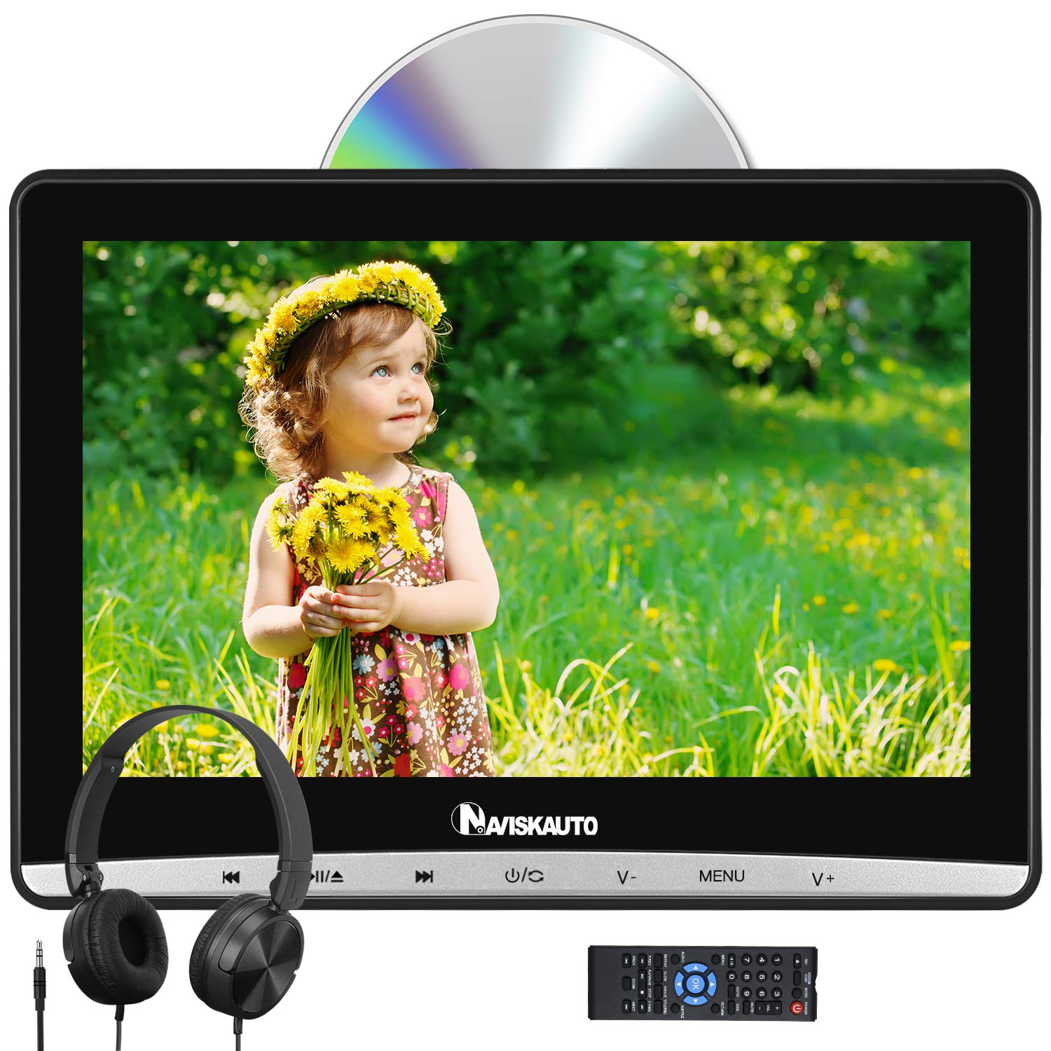 NAVISKAUTO 12'' Car DVD Player with 1366x768 HD Screen, Headphone and Inhalation Drive Support Sync Screen, AV in & Out, Resume, Region Free