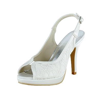 Kevin Fashion - Zapatos de boda a la moda Mujer , color Blanco, talla 43 1/3 EU